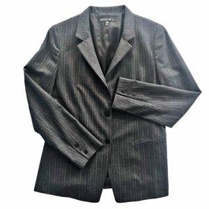 Lafayette 148 Charcoal Wool Pinstripe Blazer SZ 12